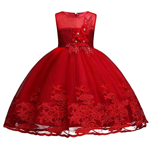 HUANQIUE Little Big Girls Pageant Wedding Flower Girl Dress 3-14 Years Red 3-4 T by HUANQIUE