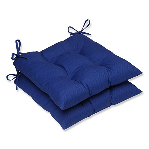 Pillow Perfect Outdoor Indoor Tufted Seat Cushion, 19 in. x 18.5 , Fresco Blue, Set of 2