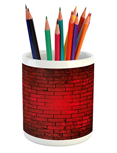 Maroon Pencil Pen Holder by Lunarable, Dark and Grunge Brick Wall Stained Display Vibrant Vintage Design Vignette Effect, Printed Ceramic Pencil Pen Holder for Desk Office Accessory, Maroon Black (Patios Designs Brick For)
