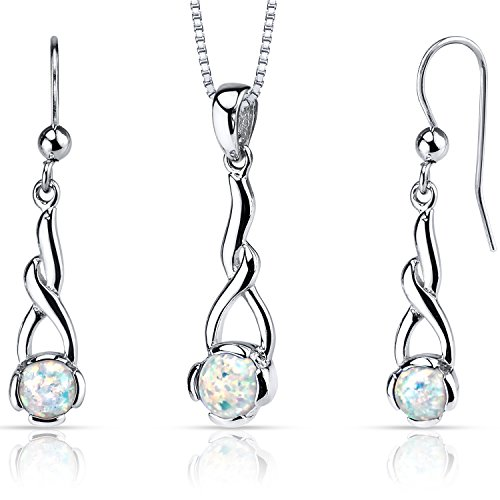 (Created Opal Helix Pendant Earrings Necklace Sterling Silver 2.00 Carats)