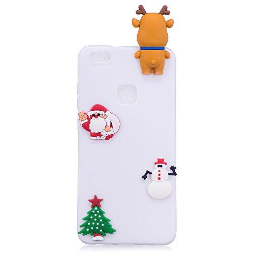 Funda Huawei P10 Lite, SpiritSun Soft Carcasa Funda Diseño Mate Opaco Ultrafina Kawaii 3D Diy Case TPU Bumper para Huawei P10 Lite (5.2 pulgadas) - Sombrero de Navidad 2 Papá Noel 4