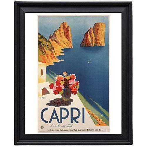 Capri Vintage Travel Mario Puppo Italy 1952 Picture Frame - Poster - Print