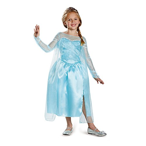 Halloween Costumes With A Blue Dress (Disney's Frozen Elsa Snow Queen Gown Classic Girls Costume, Small/4-6x)