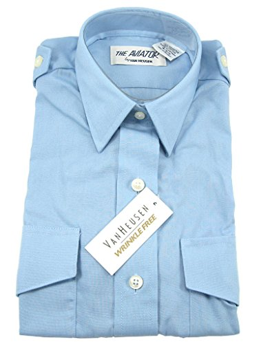 Van Heusen Women's Aviator Pilot Shirt - Short Sleeve, Blue, 6