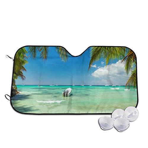- Caribbean Palm Boat Car Windshield Sun Shade Blocks UV Rays Sun Visor Protector Vehicle Cool Heat Shield Shade