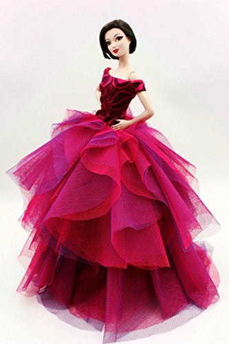[Fit Barbie Doll] Cora Gu Classic Off Shoulder Fuchsia Rose Lace Dress/Gowns For Barbie Doll/ Girl's 'Present/Barbie Dress[Doll's not included] (Lace Barbie)
