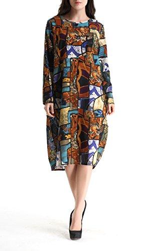 Robe Sz275 Imprime ELLAZHU unique Taille Bohmien Cotton amp;Linen Bleu Femme GY272 Midi EqwqHA