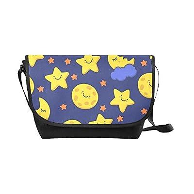 durable modeling Crossbody Bag star and moon Black Nylon Daypacks Casual  Messenger Shoulder Bag 0120e0dff3