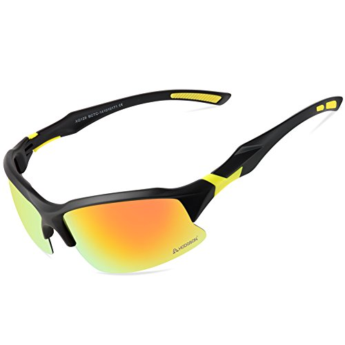HODGSON Polarized Sunglasses for Men or Women , UV400 Protection Unbreakable Sports Glasses for Riding, Driving, Fishing, Running, Golf and Other Outdoor Activities-black/yellow (Sight Contact Lenses)