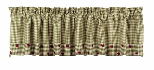 IHF Apple Valley Design Lined Valance Window Curtains 100% Cotton Fabric Material 72 Inch X 14 Inch Window Treatments Valance