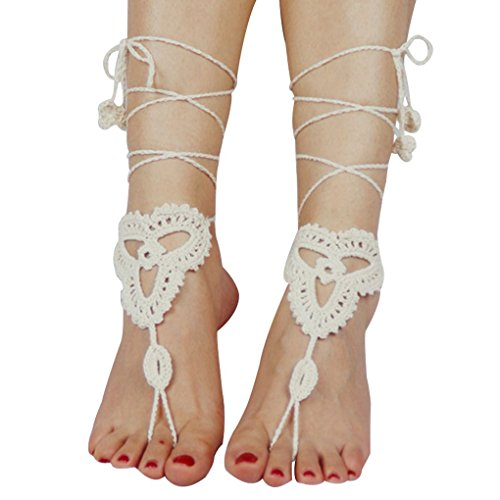 sandalia ganchillo descalzo señora joyería cadena Minzhi tobillo pulsera algodón moda beige de par tobillo elegante pie yoga mujer 1 YAYxOnSf