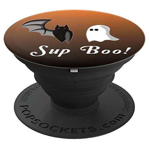 Cute Bat and Ghost Drawing Sup Boo Funny Halloween Gift - PopSockets Grip and Stand for Phones and Tablets ()