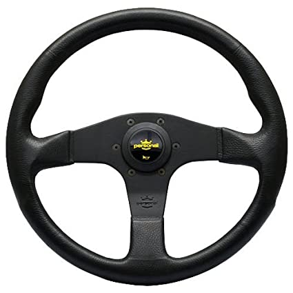 - Black Polyurethane with Black Spokes Nardi Personal Steering Wheel Yellow Logo Horn Button 330mm 12.99 inches Blitz Part # 8474.32.2001
