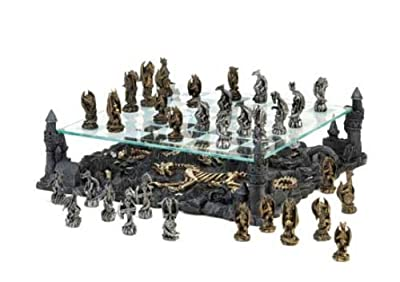 SKB Family Two Tier Dragon Chess Set battle supremacy kingdom Polyresin glass game