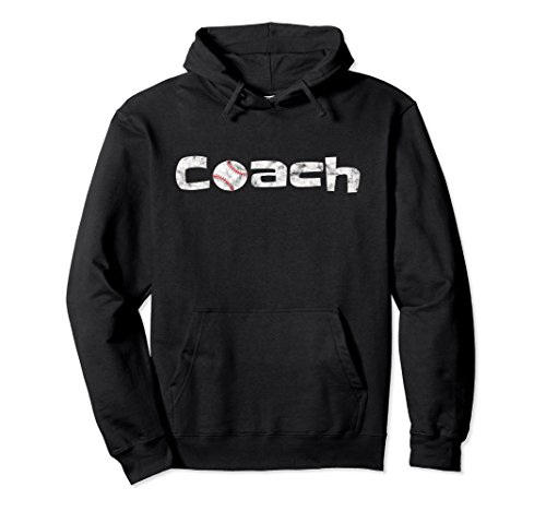 Unisex Baseball Coach Hoodie Ball Sports Coaching Vintage Pullover XL: Black from Baseball Sport Clothes