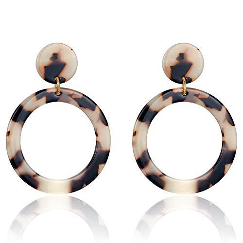 UNIWILL Acrylic Earrings Tortoise Shell Resin Earrings Drop Dangle Statement Earrings for Women Fashion Jewelry (Light Yellow-01) ()