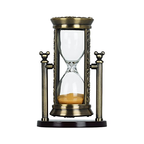 Hourglass Sand Timers,3 To 4 Minutes Colorful Sand Timer  Retro Ornaments Sandglass Kitchen Timer Home Decration Sandglass Office Desk Ornament Romantic Present (Bronze Frame Yellow Sand) RKSBG001a