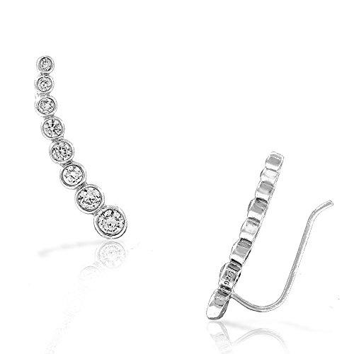 925 Sterling Silver Bezel-Set White Clear CZ Ear Crawler -