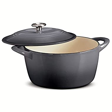 TRAMONTINA 6.5 Qt ROUND Dutch Oven Shadow Gray Enameled Cast Iron