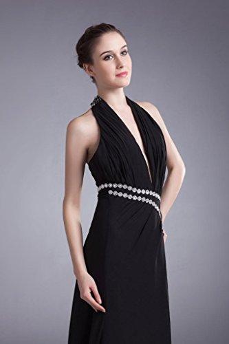Vordere mit Abendkleid schwarzer Split Ausschnitt tiefen Seitliche Design BRIDE Schwarz Lange GEORGE Sexy Halter Chiffon V OwHvAq