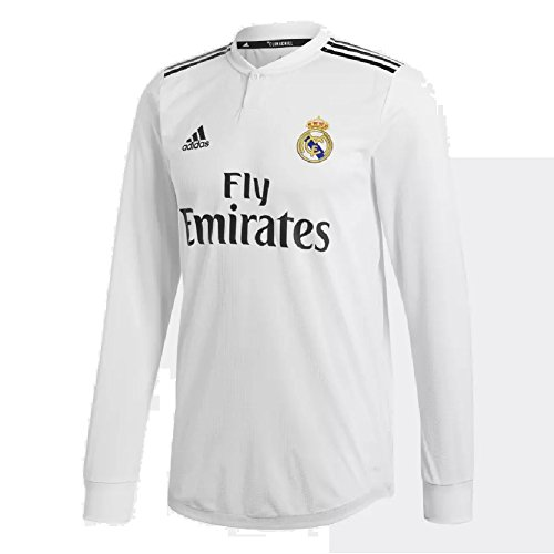 Real Madrid Long Sleeve Jersey - adidas 2018/19 Mens Real Madrid Long Sleeve Home Jersey Small Core White