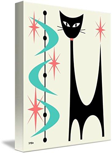 Imagekind Wall Art Print entitled Atomic Cat Aqua And Pink On Cream by Donna Mibus 41H7CIHVxpL
