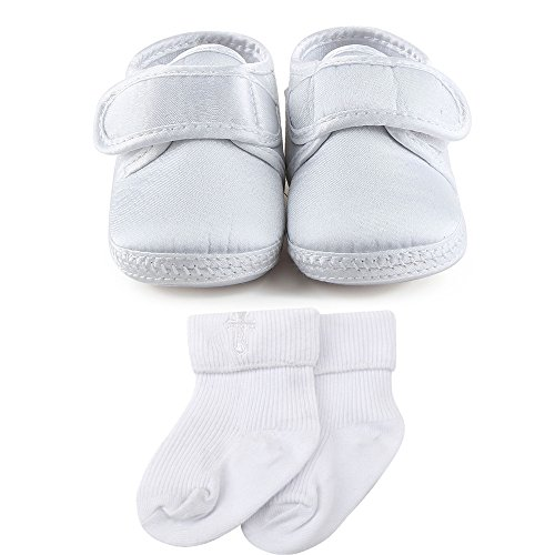 Delebao Baby Infant Satin Christening Baptism Shoes Bootie Slippers Sneakers (6-9 Months, Shoes& Socks)