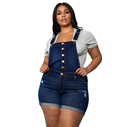 Dainzuy Overalls for Women Shorts Plus Size Jumpsuit Button Denim Wash Jumper Hight Waisted Overall Short with Pocket