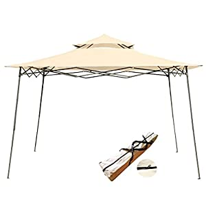 myal 10x10ft popup canopy patio outdoor easy up gazebo beige
