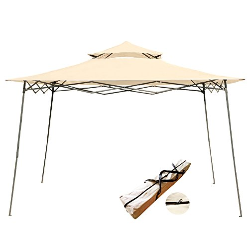 MYAL 10x10ft Pop-Up Canopy Patio Outdoor Easy Up Gazebo (Beige Gazebo)