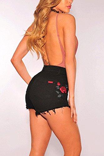 Magro Black Hot Pantaloni Breve Dazosue Donne Demin Vita Ricamati Pantaloncini Alta qwxxZvX7p