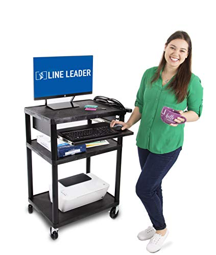 Line Leader Plastic AV Cart with Keyboard Tray - Mobile Workstation with 4 Rolling Casters and 2 Locking Brakes- Heavy Duty, Holds up to 400 lbs- Perfect for Offices and - Rolling Casters Four