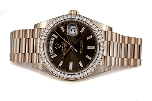 Rolex Oyster Perpetual Day-Date 40mm 18K Everose Gold Watch with Everose Gold Bezel Set with 48 Diamonds, Chocolate Dial…