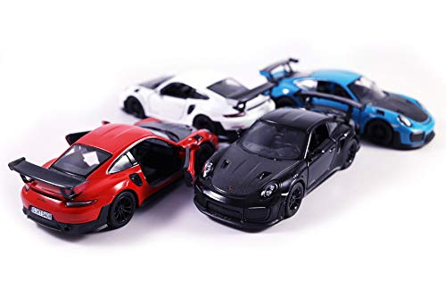 Diecast Sports Car - HCK Set of 4 2010 Porsche 911 GT2 RS - Pull Back Toy Sports Cars 1:32 Scale (Black, Blue, Red, White)