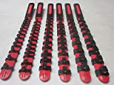 RED 6pc HANDLE ABS SOCKET RAILS 1/4'' 3/8'' 1/2'' RACK TRAY HOLDER ORGANIZERS ETC