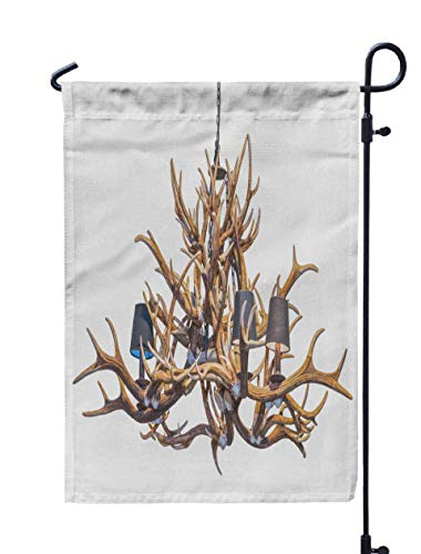 Shorping Welcome Garden Flag, 12x18Inch Chandelier Deer Antlers in Vintage Style Isolated White Background for Holiday and Seasonal Double-Sided Printing Yards Flags