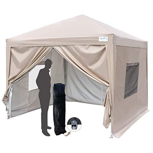 Quictent Privacy 10x10 EZ Pop Up Canopy Party Tent Folding Gazebo with Sidewalls & Mesh Windows 100% Waterproof (Beige)