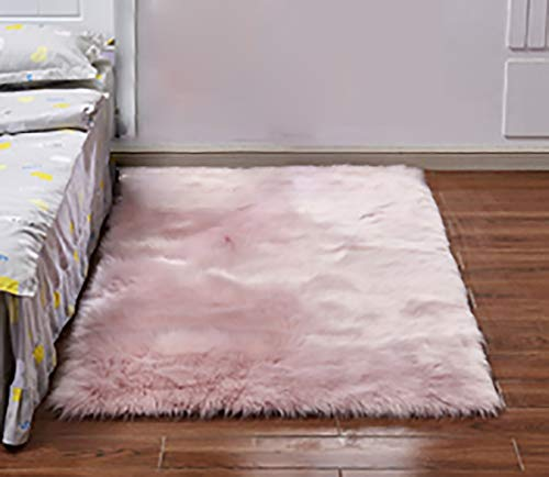 Stylish Ultra Soft Silky Fluffy Shag Faux Sheepskin Area Rug,Rugs for Living Room Bedroom Nursery Floor White,Pink,6090CM from L.HPT