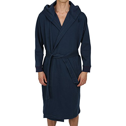 Regency New York Men's Cotton Sweatshirt Style Hooded Robe Navy (Cotton Hooded Robe)