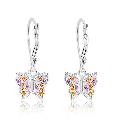 Butterfly Leverback Earrings (Chanteur Premium CZ Butterfly Secure leverback Kids Baby Girl Earrings By (Multi screwback))