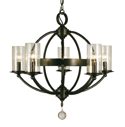 Framburg 1075 MB Compass 5-Light Chandelier with Clear Seedy Glass, Mahogany (Pendant Transitional Foyer Lights)