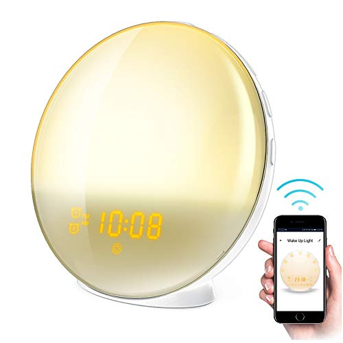 Smart WiFi Sleep and Wake Up Light Alarm Clock,Sunrise Alarm Clock with FM Radio, Dimmable Night Light by APP - Work with Android Phone, iPhone, iPad, and Tablet (Best Android Tablet Clock)