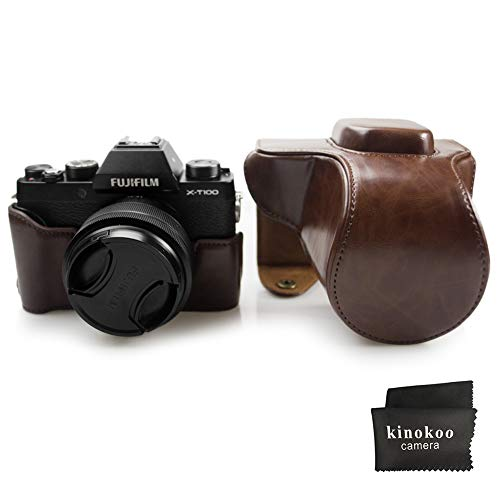 kinokoo PU Leather Cover Bag for Fuji X-T100 Camera and 15-45mm Lens, Prective Case with Shoulder Strap -Coffee