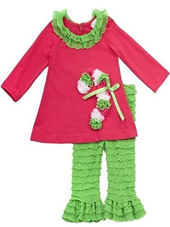 Amazon.com: Rare Editions Christmas Outfit for Girls - Fuchsia and ...