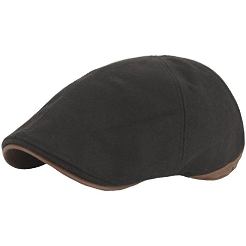 (RaOn N07 Driving Wool Crack Faux Leather Style IVY Cap Cabbie Ascot newsboy Beret Hat (Black))