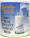Country Cream 100% Real Instant Nonfat Milk, case of six #10 cans