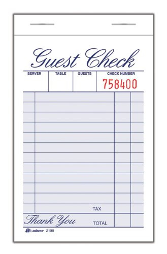 "Adams Guest Check Pad, Single Part, White, 3-11/32"" x 5-7/16"", 100 Sheets/Pad, 12 Pads/Pack (2100-12)"