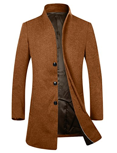 APTRO Men's Wool French Front Slim Fit Long Business Coat 1681 DZDY Camel S by APTRO