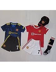 New 2021-2022 Kids Soccer Jersey # 7 Ronaldo Manchester United Home Red White Away Fan Jersey Top+Shorts+Cap+Socks Kit