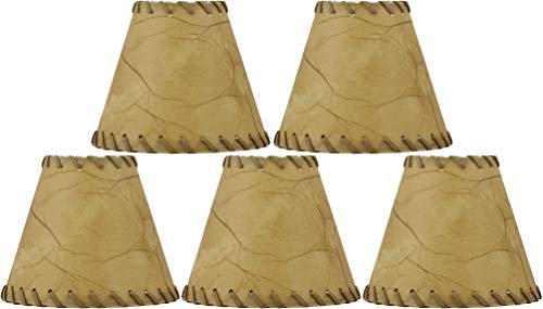 Urbanest Chandelier Lamp Shades 6-inch, Hardback, Faux Leather, Laced Trim, Clip on (Set of 5)